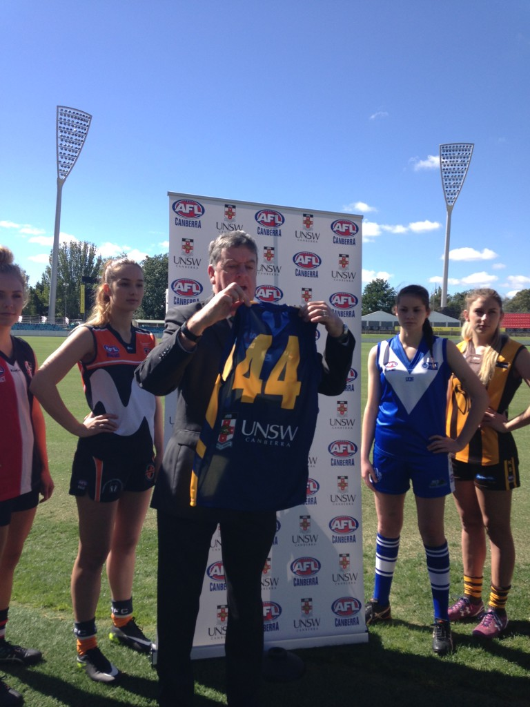 UNSW Canberra Deputy Rector, John Arnold, with the 2017 Women's Representative Guernsey