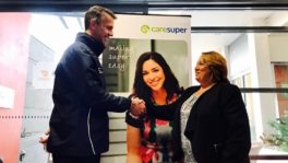 Above: AFL NSW/ACT Regional Manager - ACT, Steven Mahar with CareSuper Client Partnerships Manager, Rachel Dobing